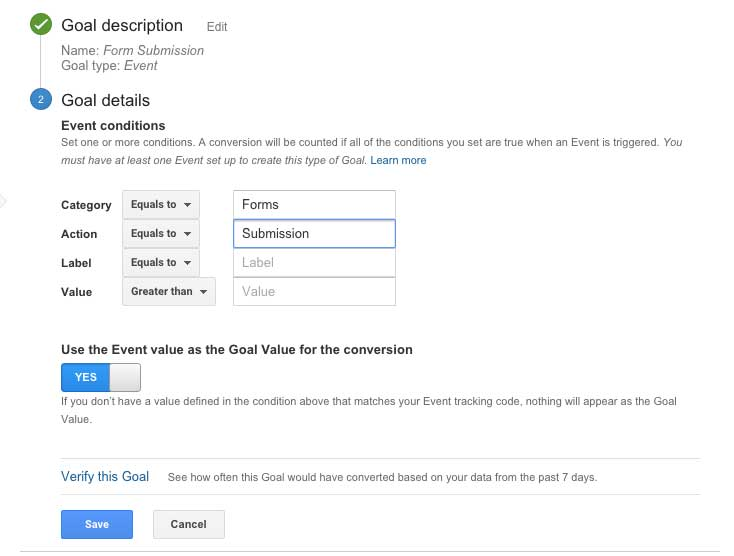 Google Analytics Goal Creation
