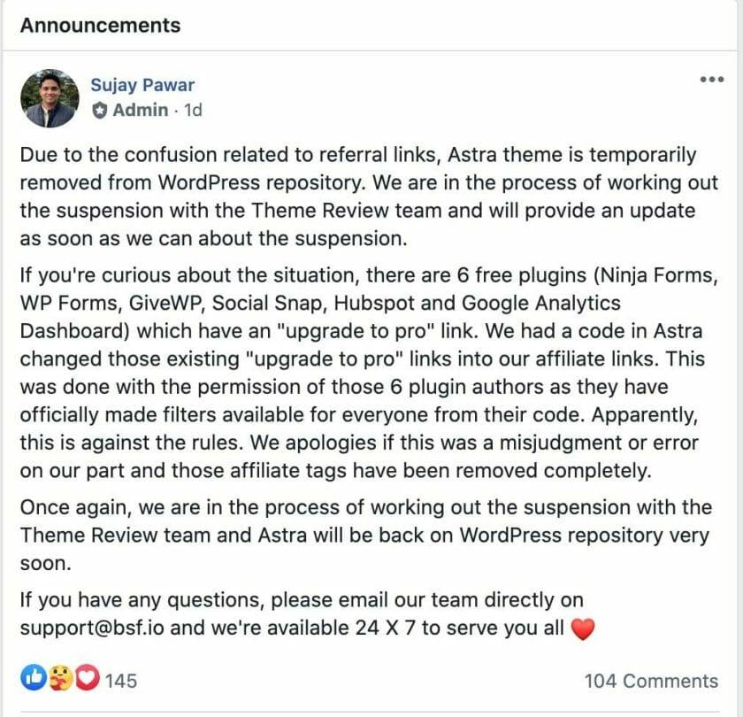 Astra FB Announcement