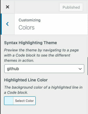 Customer Color Settings for Syntax Highlighting Block