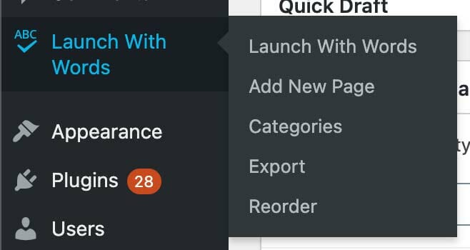 Launch With Words Exporter