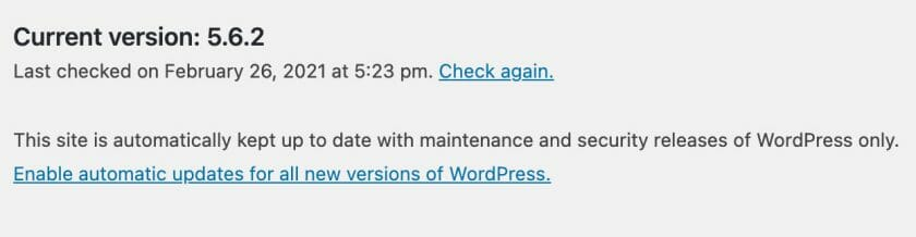 Core Automatic Updates Screen