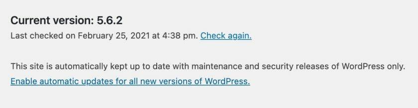 WordPress Automatic Updates Screen