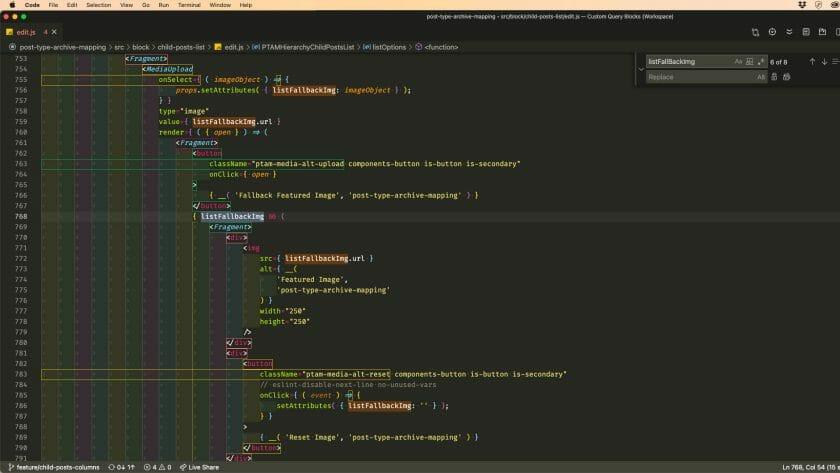 Screen full of React Code
