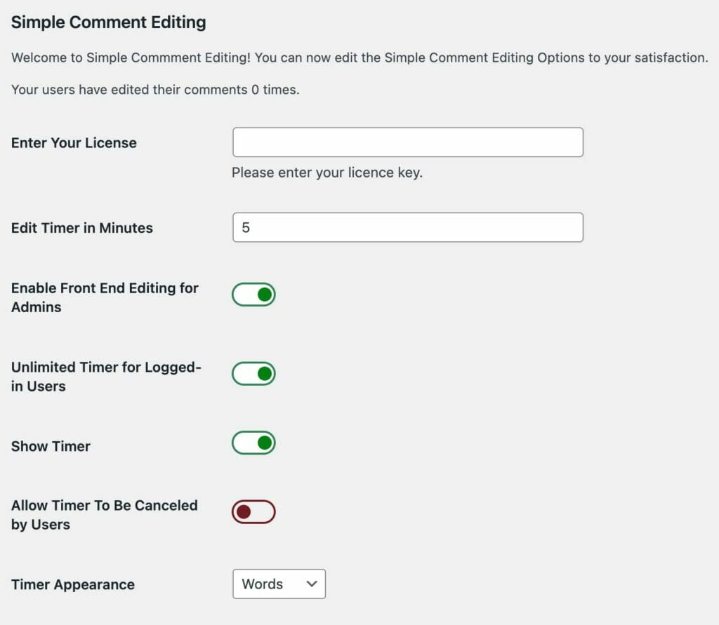 SCE Admin Options